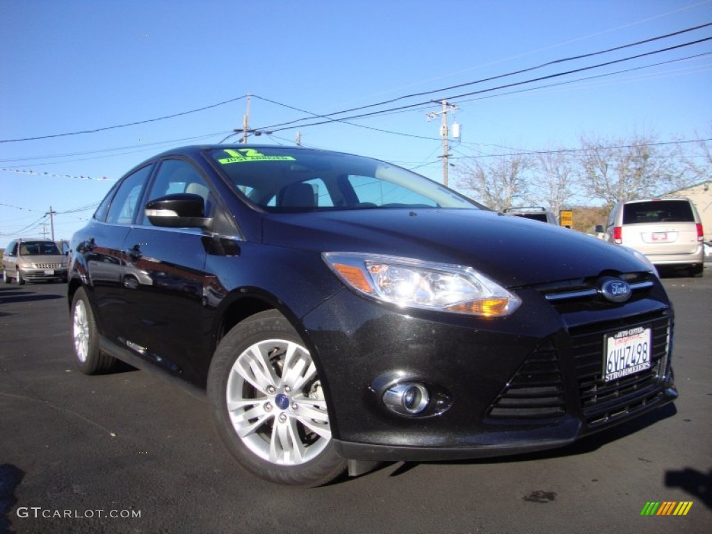 2012 Focus SEL Sedan - Tuxedo Black Metallic / Stone photo #1