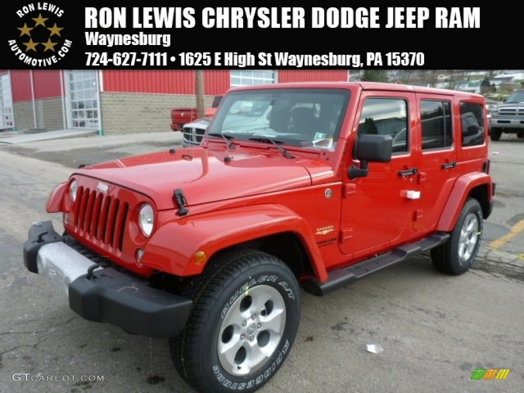 2014 jeep wrangler unlimited sahara 4x4 flame red color black. Cars Review. Best American Auto & Cars Review