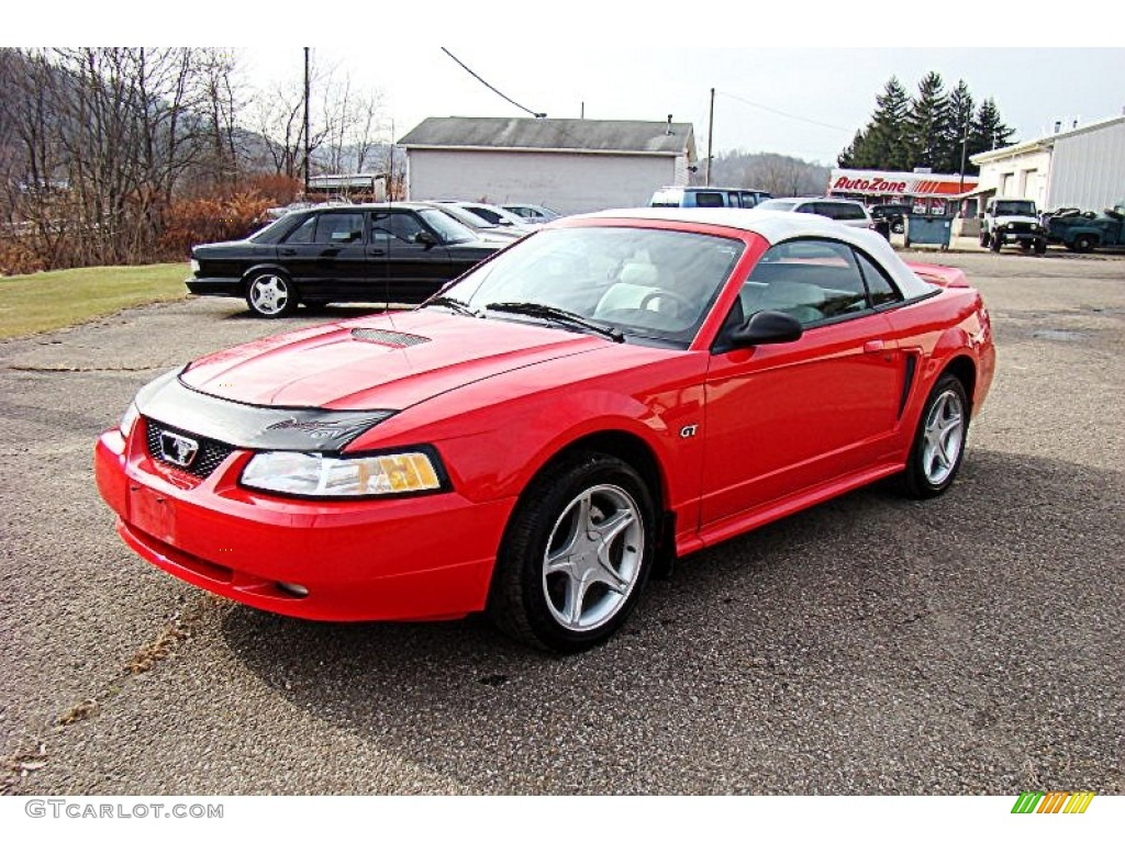 2000 Mustang GT Convertible - Performance Red / Oxford White photo #1