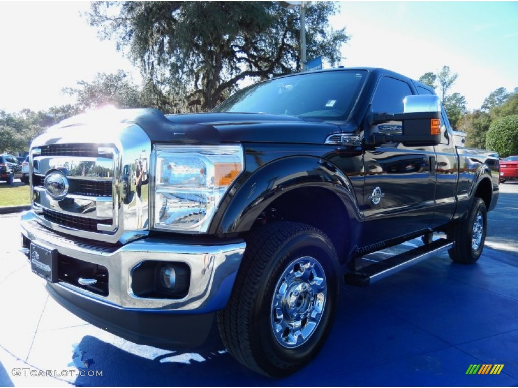 2012 F250 Super Duty XLT SuperCab 4x4 - Tuxedo Black Metallic / Steel photo #1
