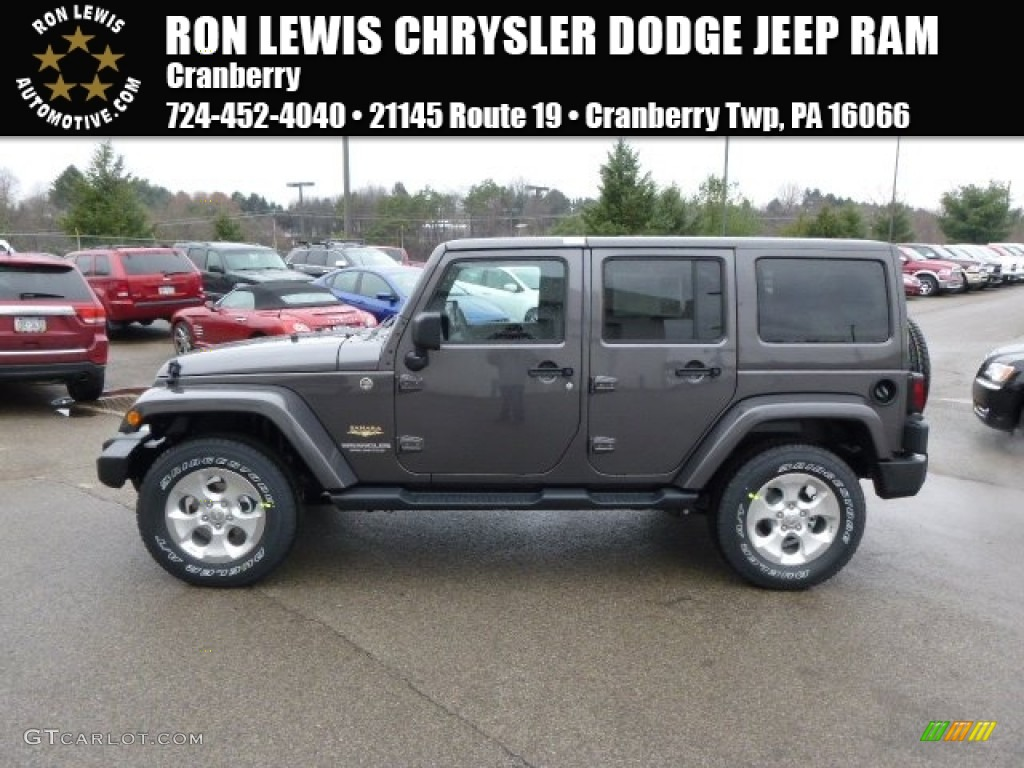 2014 wrangler unlimited sahara 4x4 granite metallic black photo 1