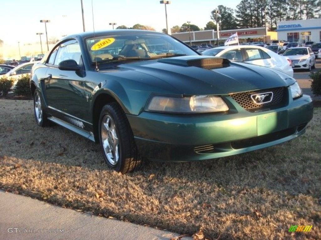 2003 Mustang V6 Coupe - Tropic Green Metallic / Medium Parchment photo #1