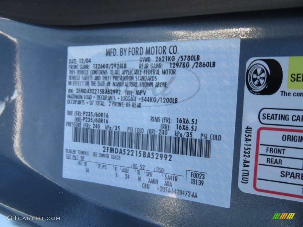 2005 Ford Freestar Sel Color Code Photos