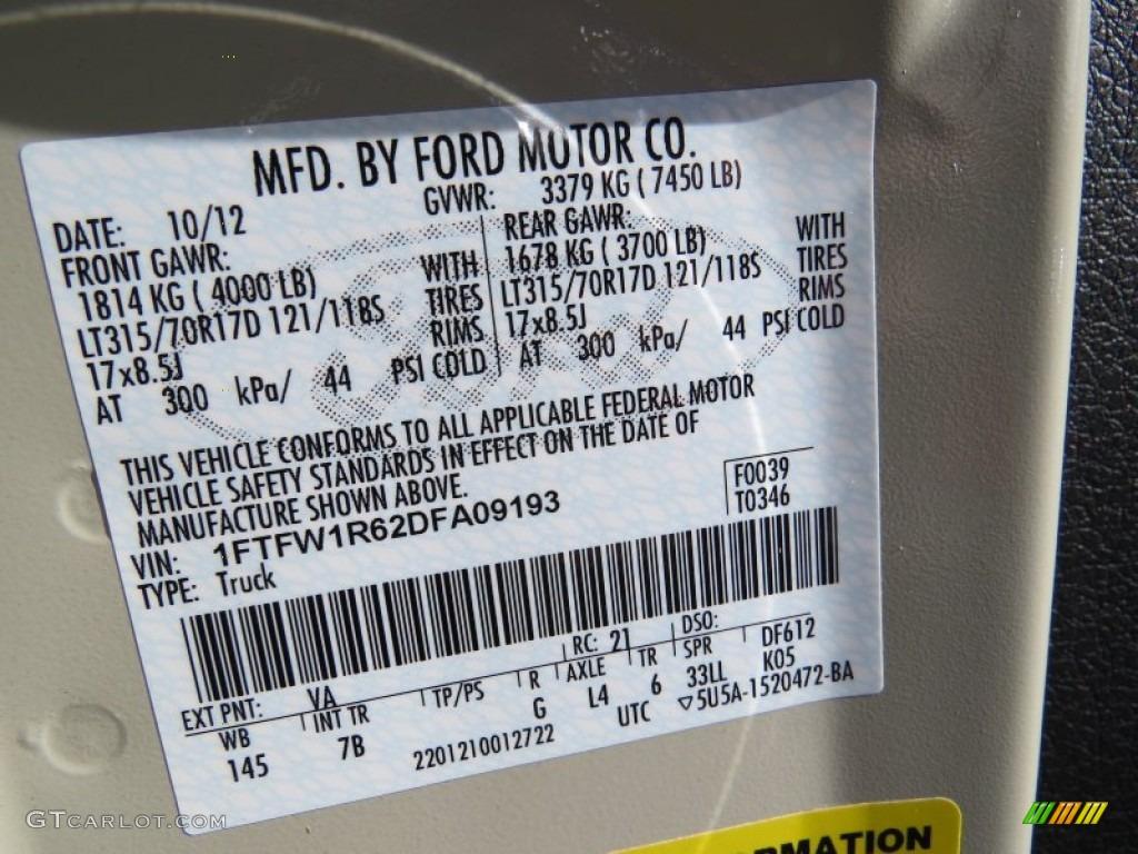 2013 Ford F150 Svt Raptor Supercrew 4x4 Color Code Photos