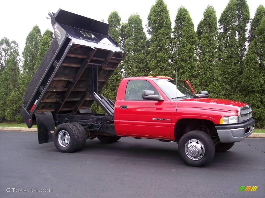 2002 Flame Red Dodge Ram 3500 St Regular Cab Chassis Dump Truck