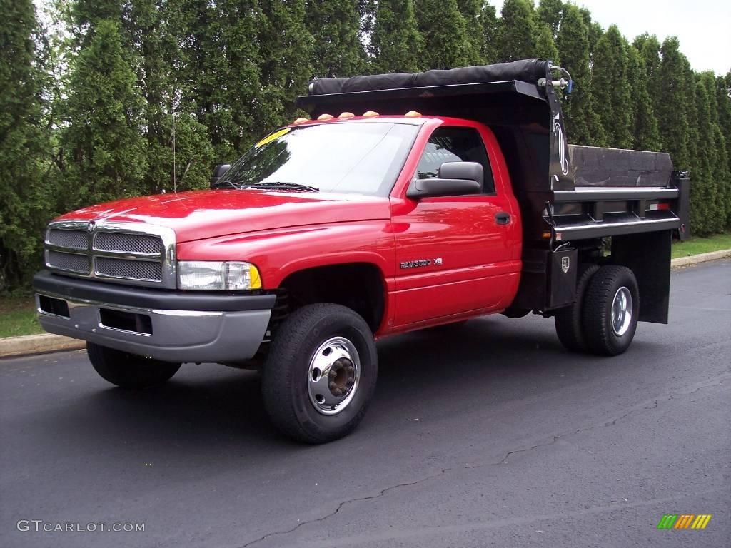 2002 flame red dodge ram 3500 st regular cab chassis dump. Black Bedroom Furniture Sets. Home Design Ideas