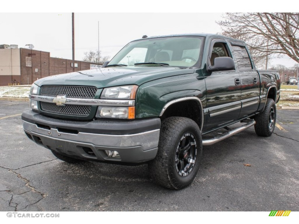 2005 Silverado 1500 LS Crew Cab - Dark Green Metallic / Tan photo #1
