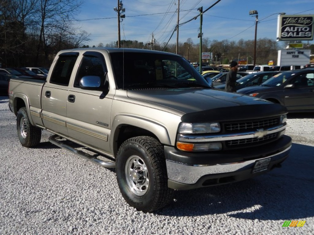 2002 Silverado 1500 LS Crew Cab 4x4 - Light Pewter Metallic / Graphite Gray photo #1