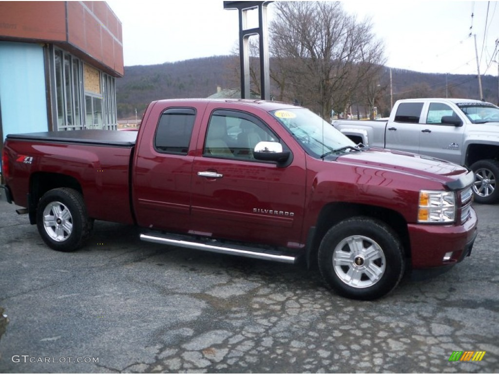 2013 Silverado 1500 LTZ Extended Cab 4x4 - Deep Ruby Metallic / Light Cashmere/Dark Cashmere photo #2