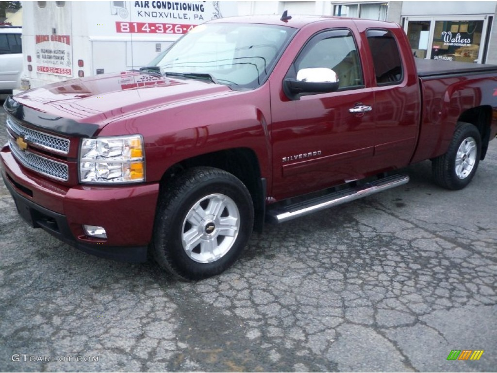 2013 Silverado 1500 LTZ Extended Cab 4x4 - Deep Ruby Metallic / Light Cashmere/Dark Cashmere photo #7