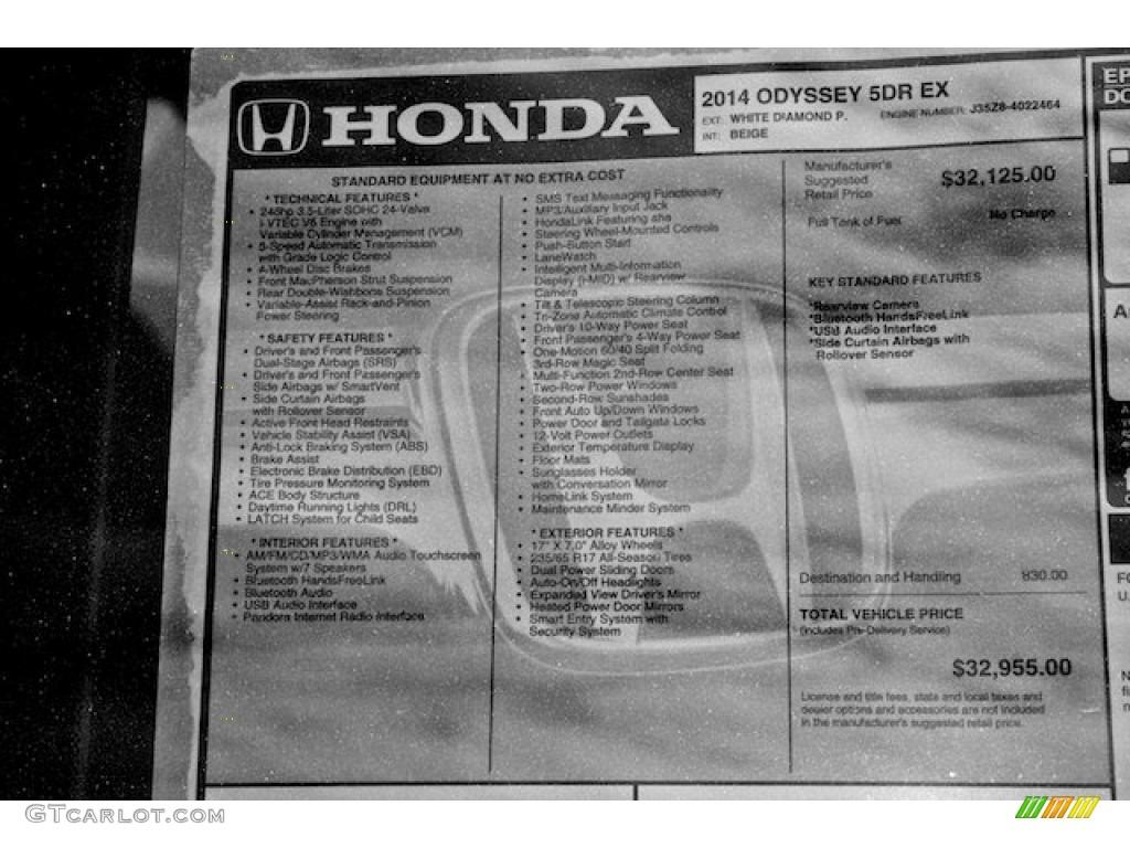 2014 Honda Odyssey Ex Window Sticker Photo 89882034