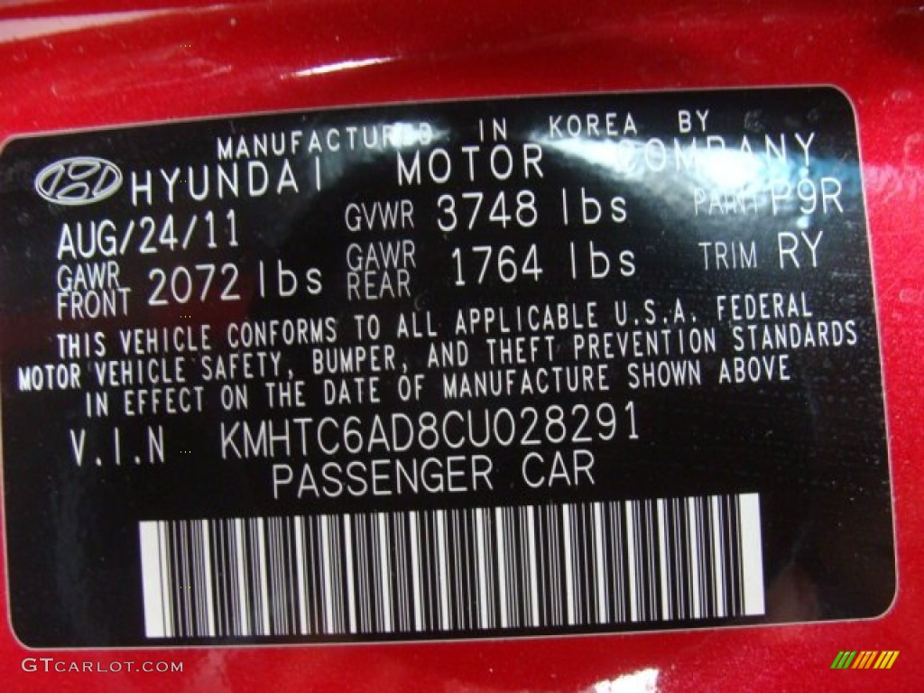 2012 Hyundai Veloster Standard Veloster Model Color Code Photos ...