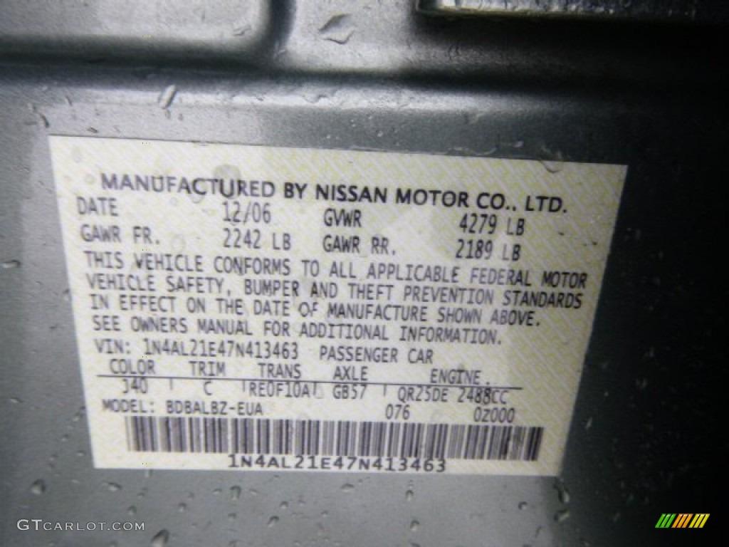 2007 Nissan Altima 2 5 S Color Code Photos Gtcarlot Com