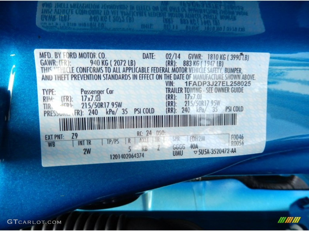 how to find ford focus colour code