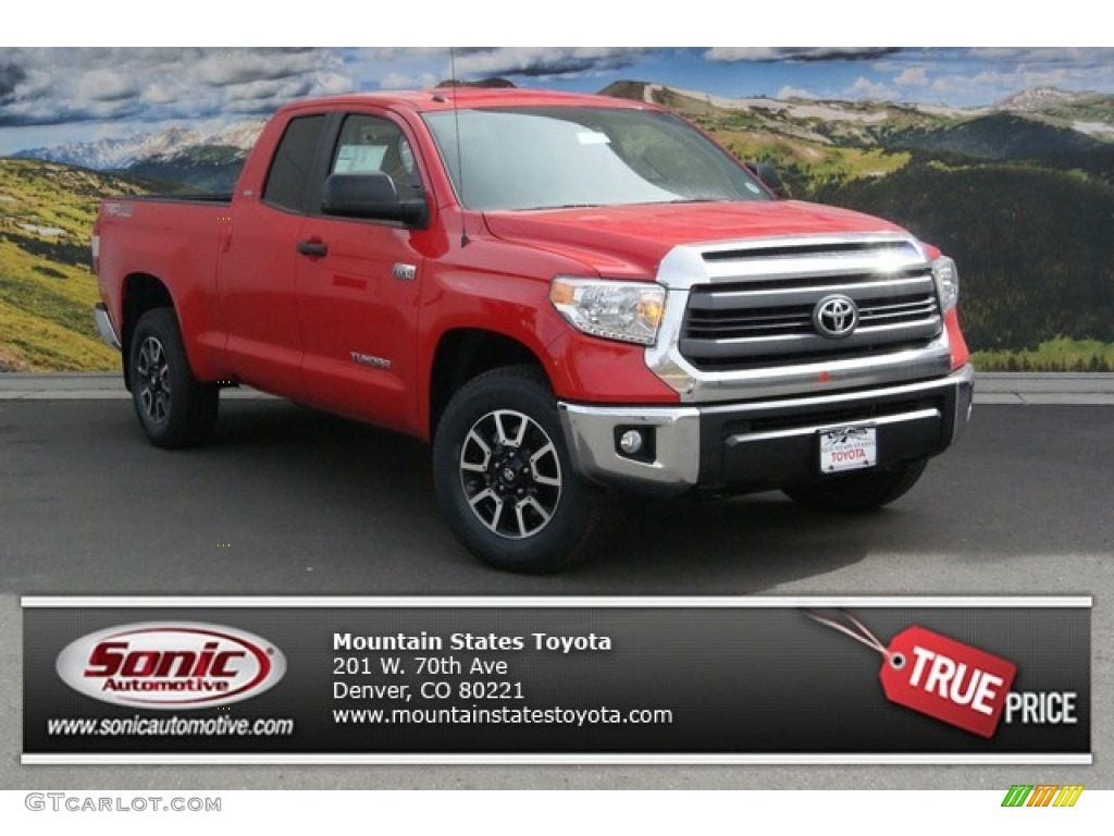2014 Tundra SR5 TRD Double Cab 4x4 - Radiant Red / Sand Beige photo #1