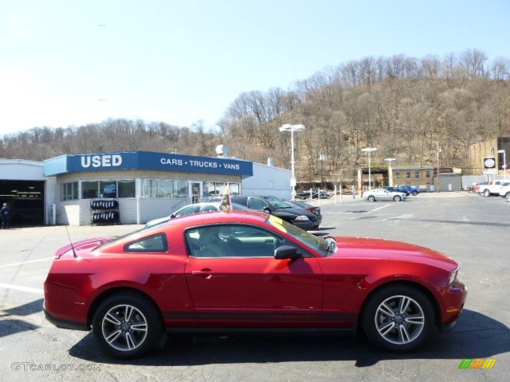2011 mustang v6 premium coupe red candy metallic stone photo 1
