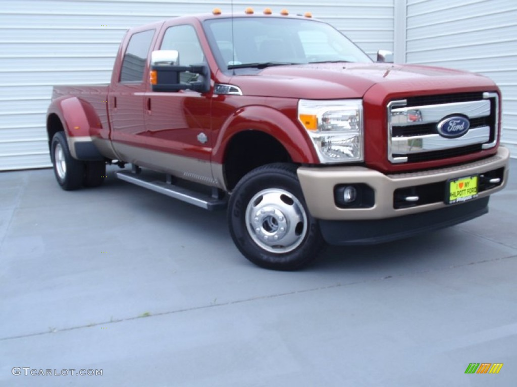 2014 f350 super duty king ranch crew cab 4x4 dually ruby red metallic adobe
