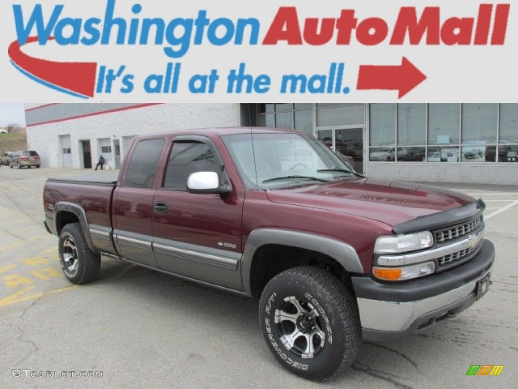 2000 Silverado 1500 LS Extended Cab 4x4 - Dark Carmine Red Metallic / Medium Gray photo #1