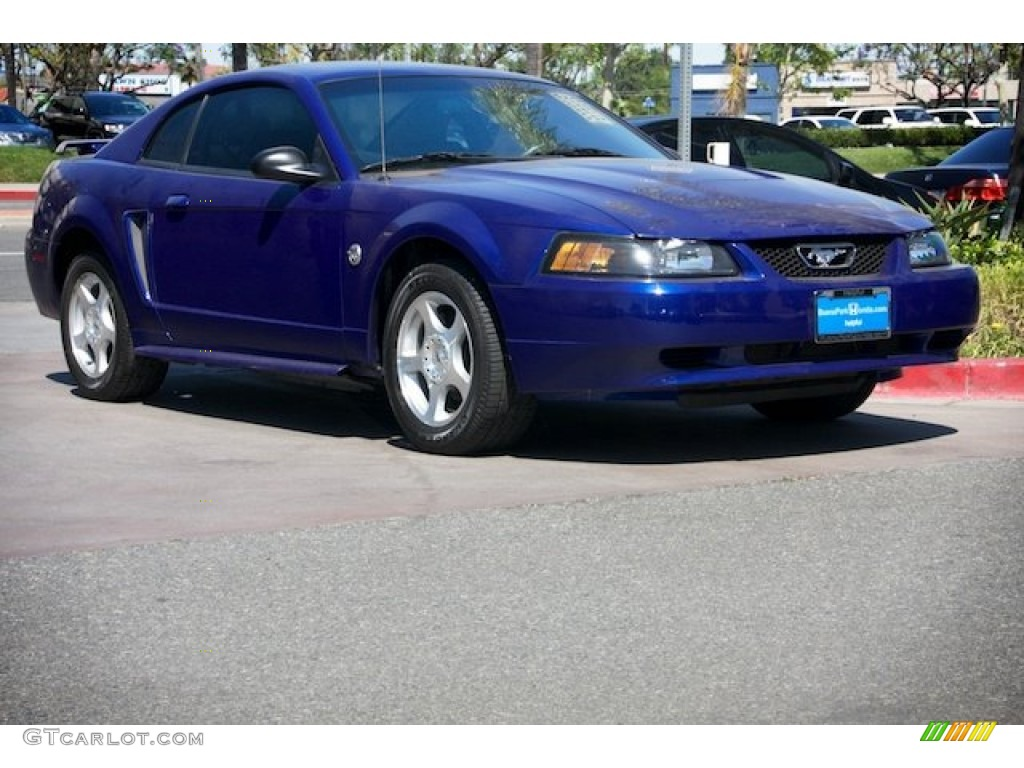 2004 Mustang V6 Coupe - Sonic Blue Metallic / Medium Graphite photo #1
