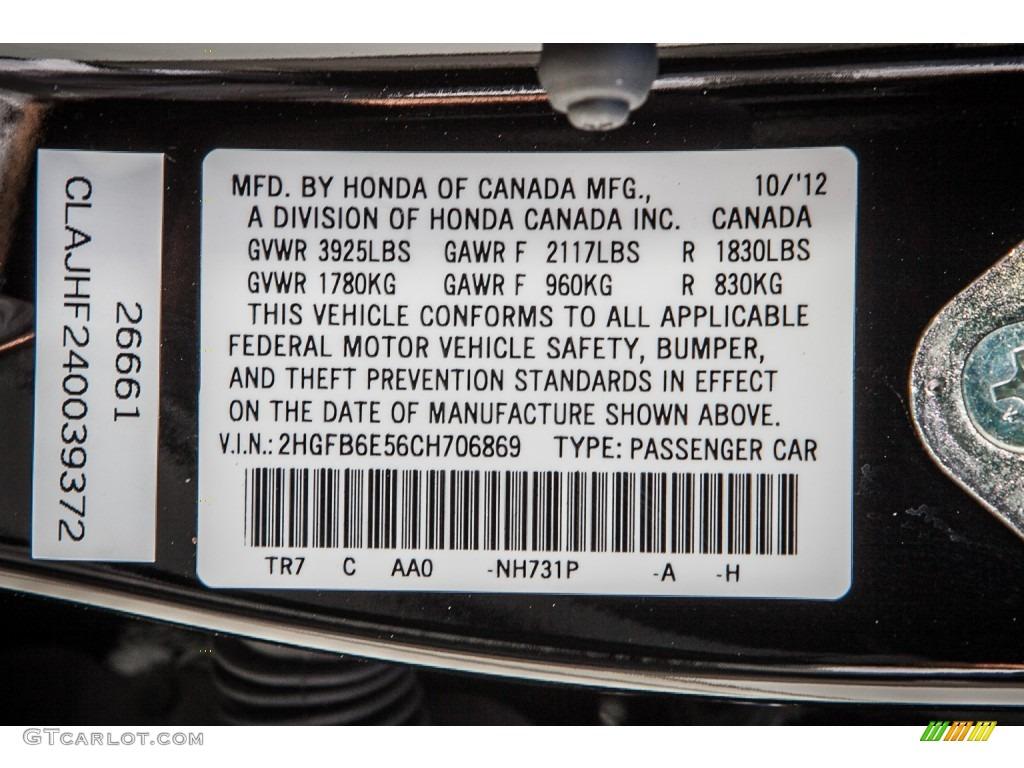 2012 Honda Civic Si Sedan Color Code Photos Gtcarlot Com