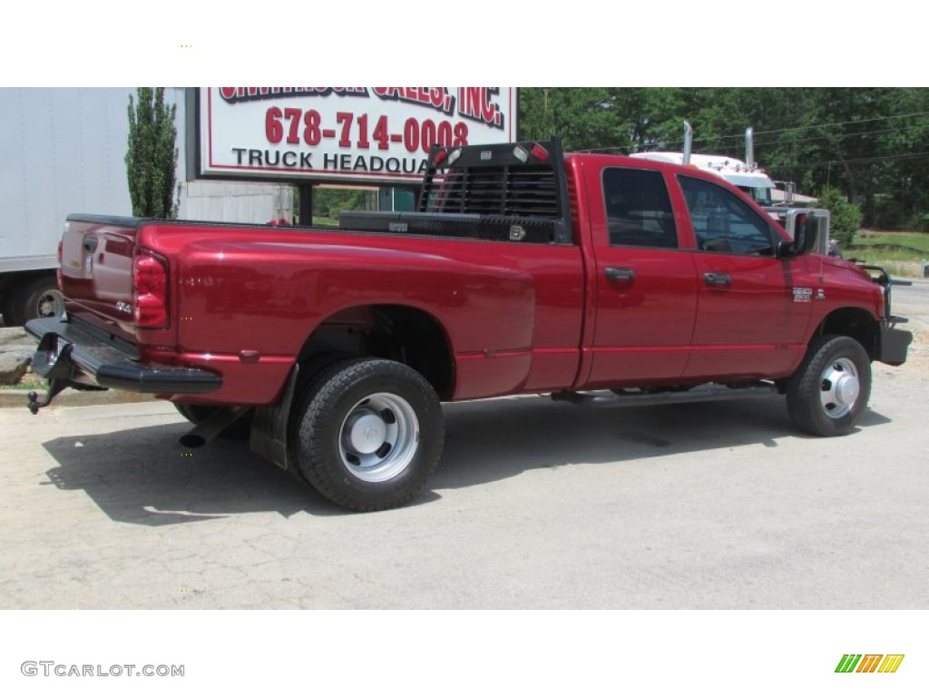 2008 Ram 3500 SLT Quad Cab 4x4 Dually - Inferno Red Crystal Pearl / Medium Slate Gray photo #7