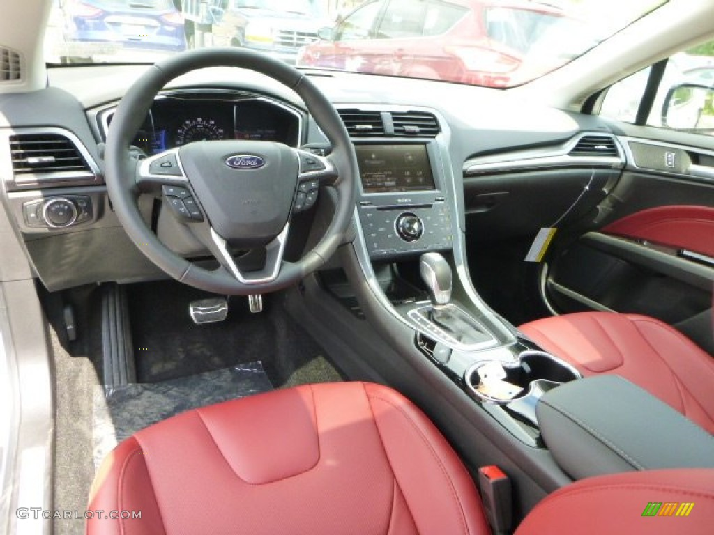 brick red interior 2014 ford fusion titanium awd photo. Black Bedroom Furniture Sets. Home Design Ideas