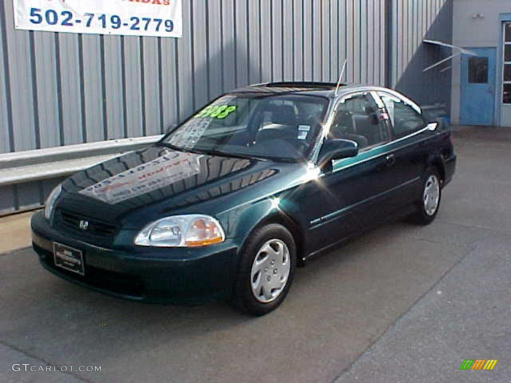 1997 Civic EX Coupe   Cypress Green Metallic / Gray Photo #2