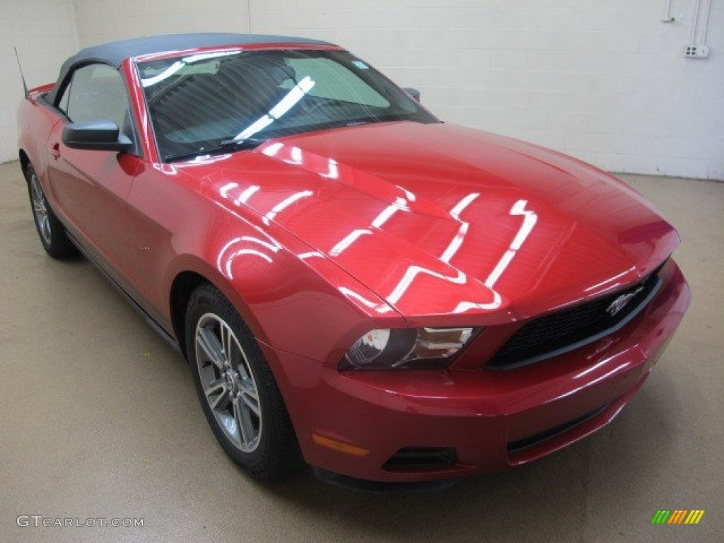 2010 Mustang V6 Premium Convertible - Red Candy Metallic / Saddle photo #1