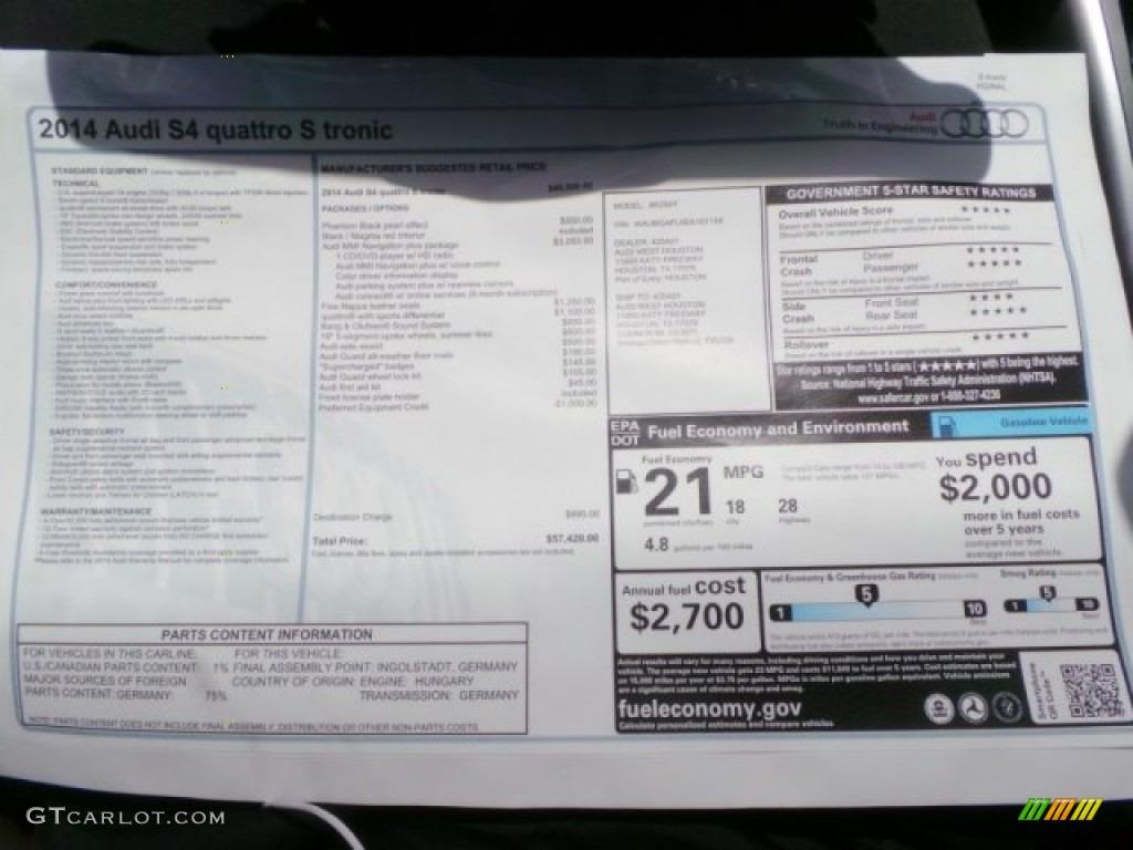2014 S4 Premium plus 3.0 TFSI quattro - Phantom Black Pearl / Black/Magma Red photo #36