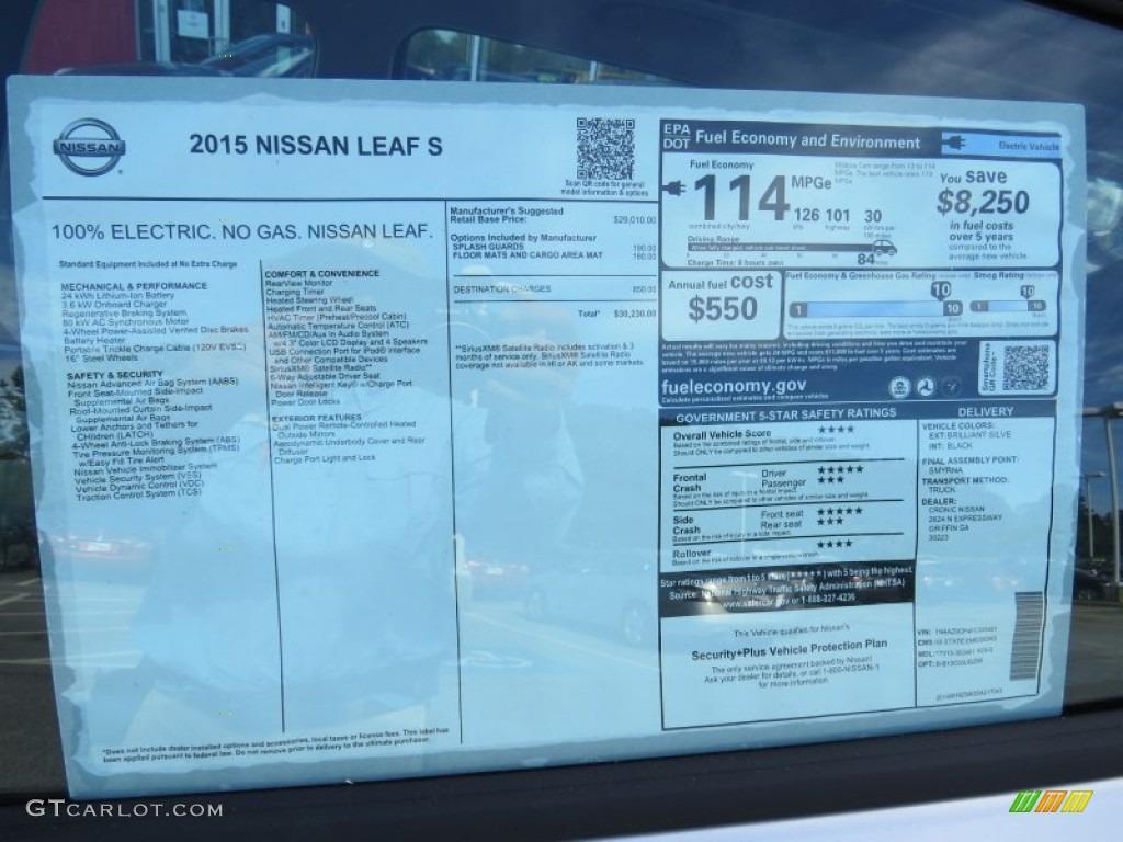 Nissan Vin Window Sticker >> 2015 Nissan LEAF S Window Sticker Photo #95495581 | GTCarLot.com
