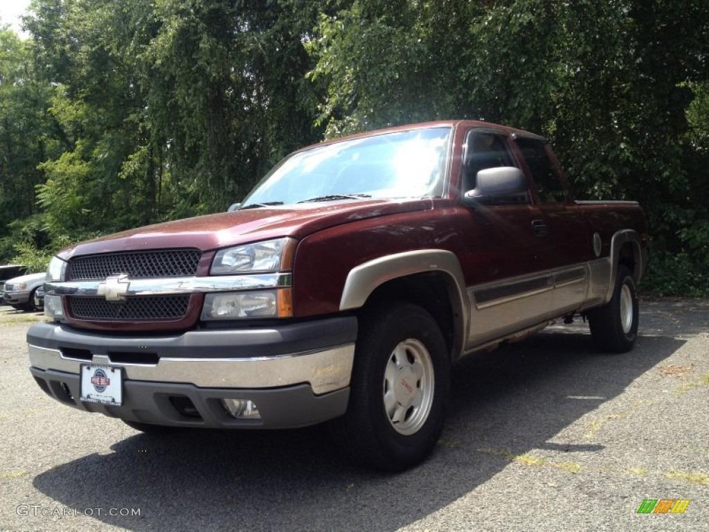 2003 Silverado 1500 LS Extended Cab 4x4 - Dark Carmine Red Metallic / Dark Charcoal photo #1