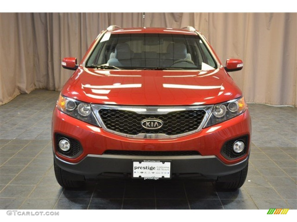 2011 Sorento LX AWD - Spicy Red / Gray photo #3