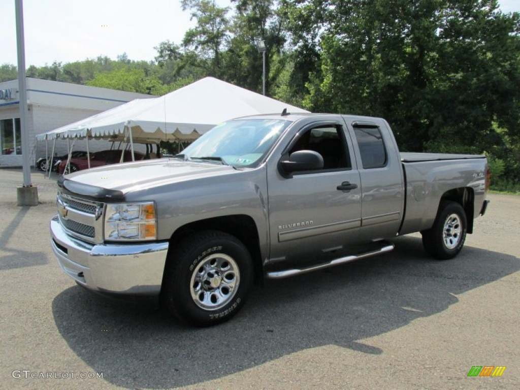 2012 Silverado 1500 LS Extended Cab 4x4 - Graystone Metallic / Dark Titanium photo #1