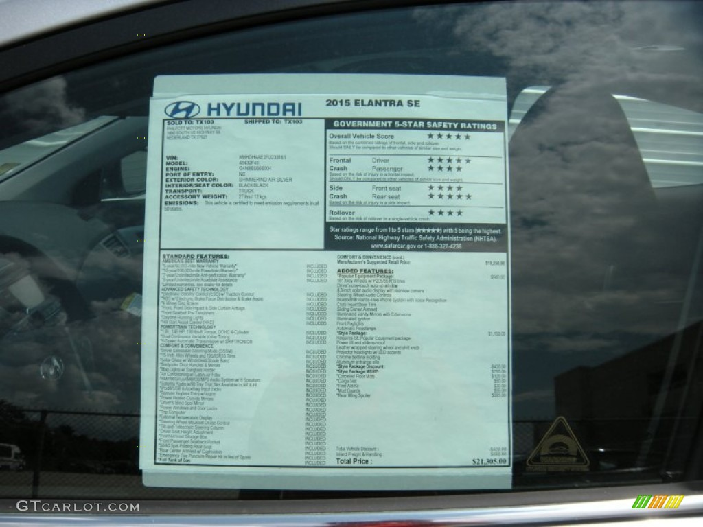 2015 hyundai elantra se sedan window sticker photos