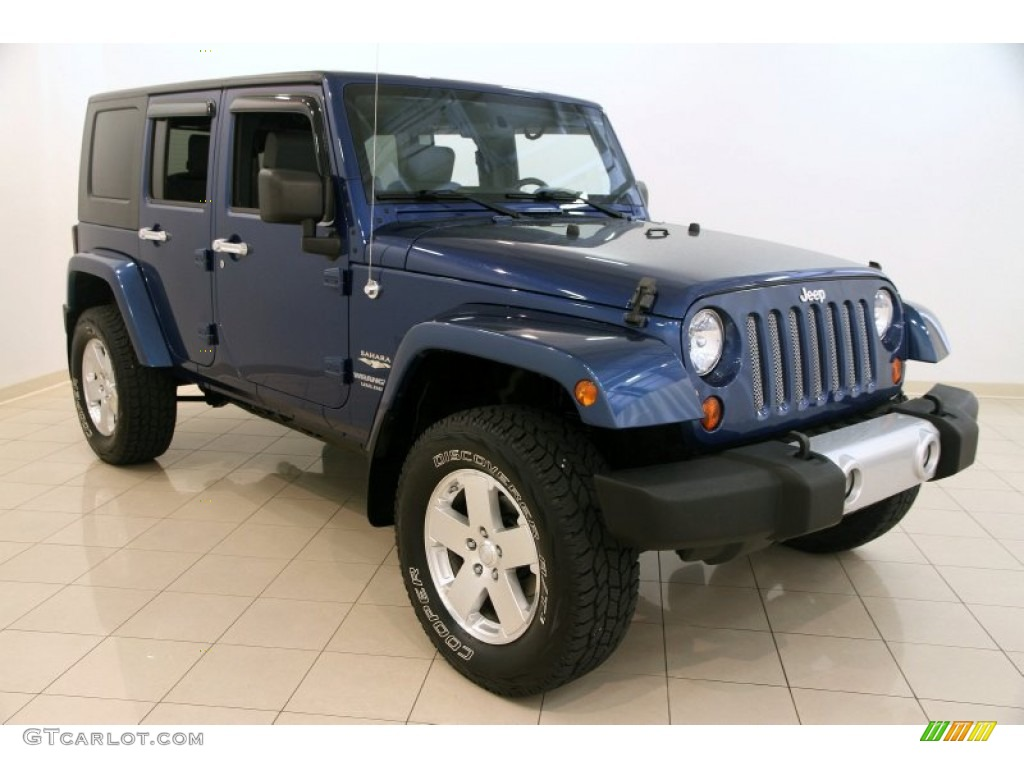 2009 deep water blue pearl jeep wrangler unlimited sahara. Black Bedroom Furniture Sets. Home Design Ideas