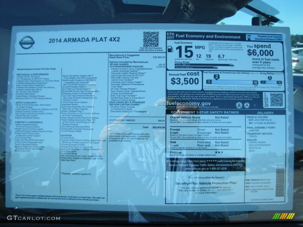 2014 nissan armada platinum window sticker photo 96704173