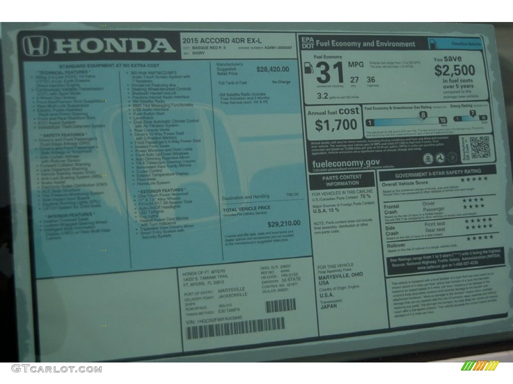 2015 Honda Accord Ex L Sedan Window Sticker Photos