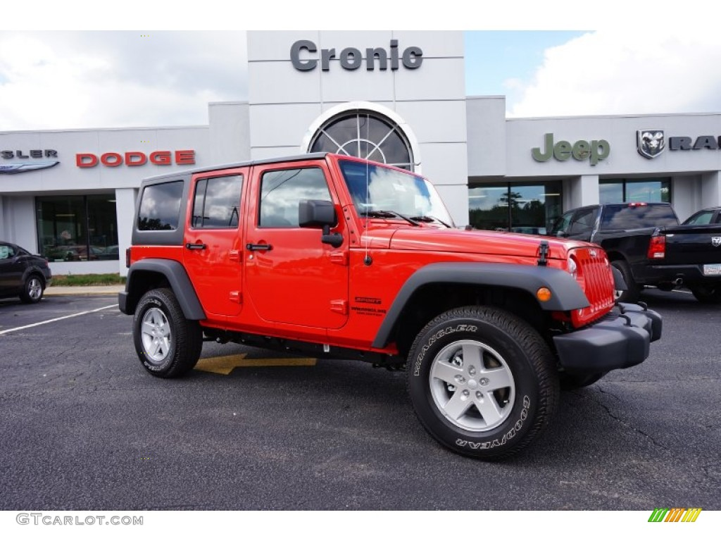 2015 Firecracker Red Jeep Wrangler Unlimited Sport S 4x4 97521890 Pick Up Specs