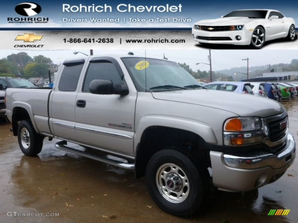 2005 Sierra 2500HD SLT Extended Cab 4x4 - Silver Birch Metallic / Dark Pewter photo #1