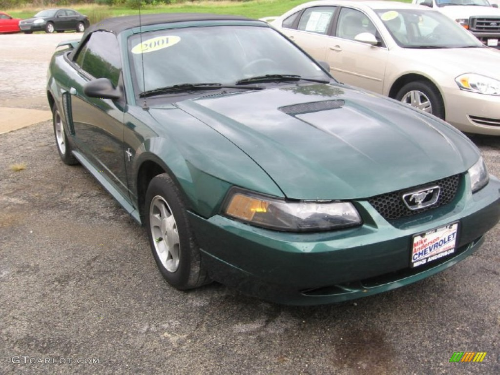 2001 Mustang V6 Convertible - Tropic Green metallic / Medium Parchment photo #1