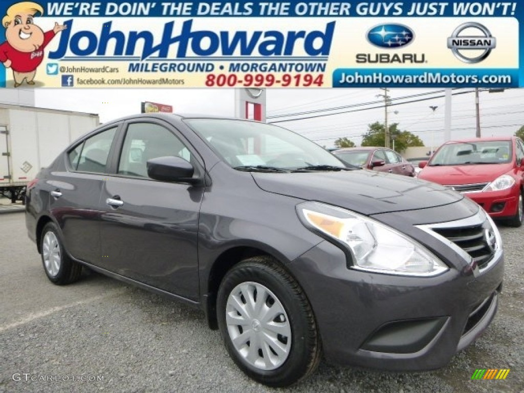 2015 amethyst gray nissan versa 1 6 sv sedan 98128366. Black Bedroom Furniture Sets. Home Design Ideas