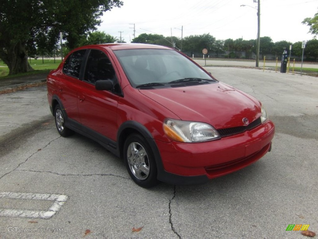 Absolutely Red 2000 Toyota Echo Sedan Exterior Photo