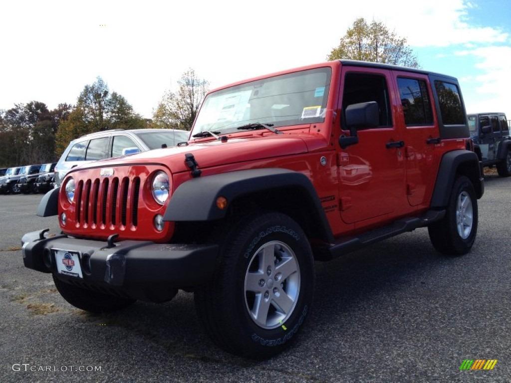 2015 firecracker red jeep wrangler unlimited sport 4x4 98502465 car color. Black Bedroom Furniture Sets. Home Design Ideas