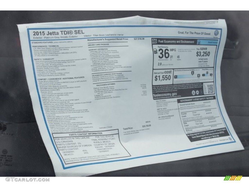 2015 Volkswagen Jetta Tdi Sel Sedan Window Sticker Photo