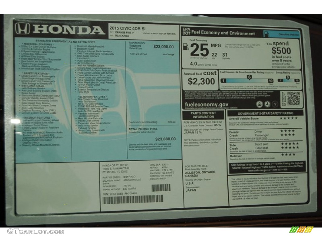 2015 Honda Civic Si Sedan Window Sticker Photo 99176029