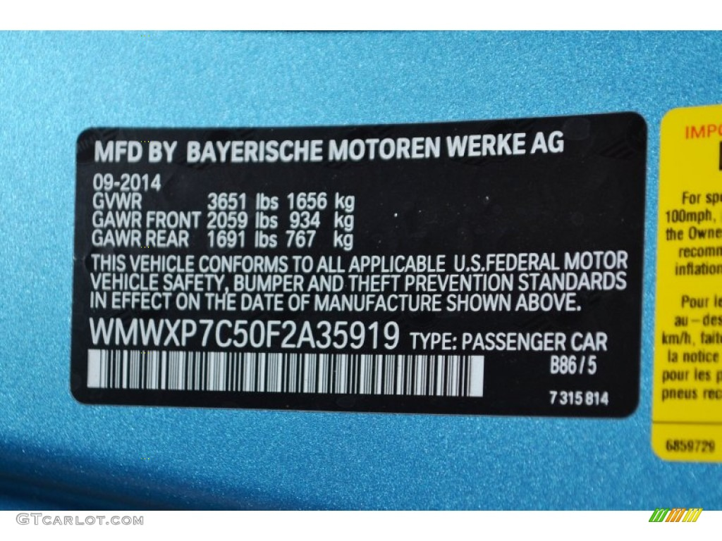 2015 Cooper Color Code B86 For Electric Blue Metallic Photo