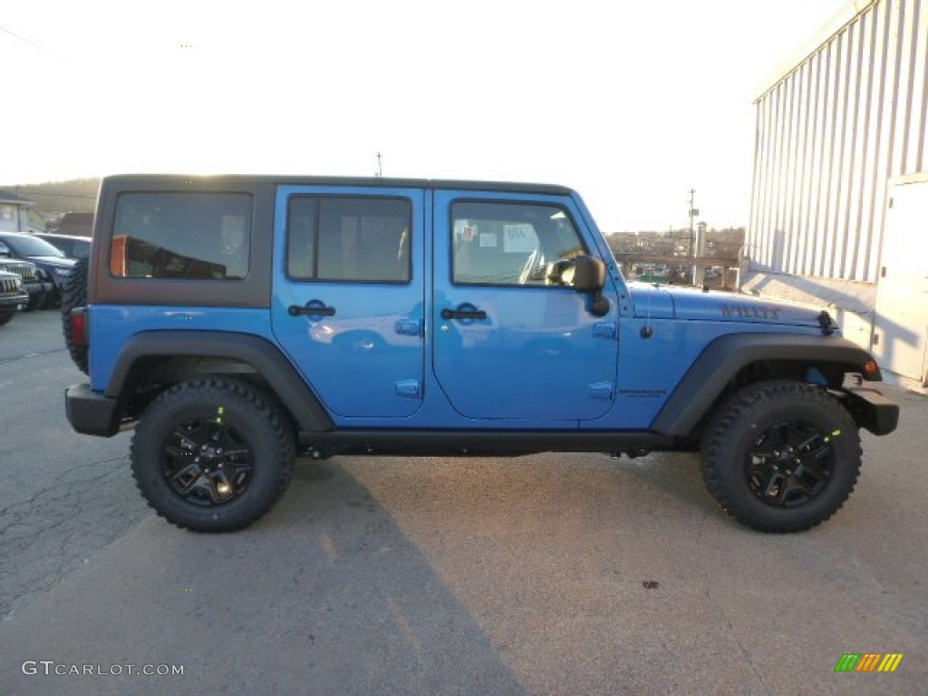 2015 hydro blue pearl jeep wrangler unlimited willys wheeler 4x4