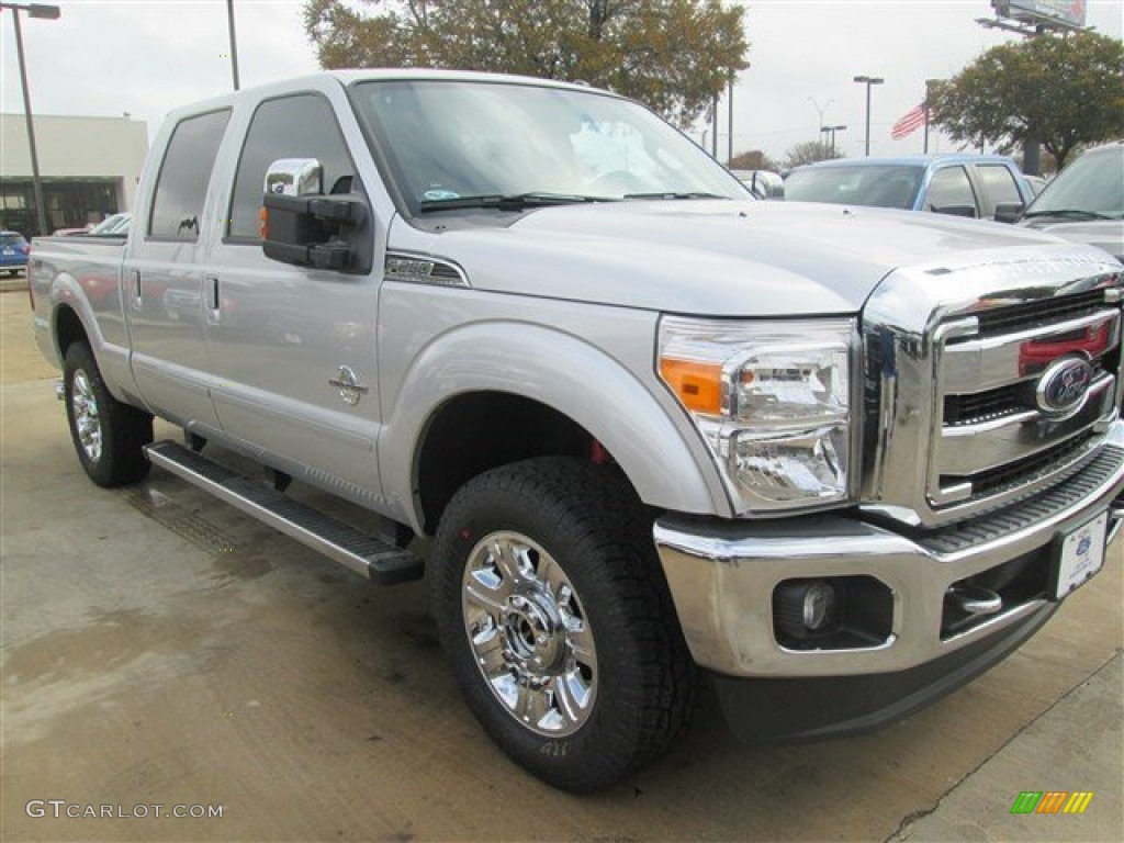 2015 f250 super duty lariat crew cab 4x4 ingot silver black photo 1