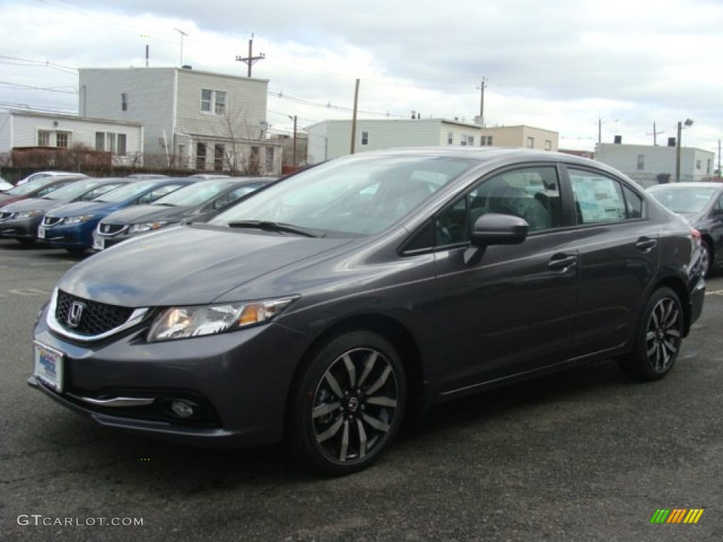 2015 Civic EX-L Sedan - Modern Steel Metallic / Gray photo #1